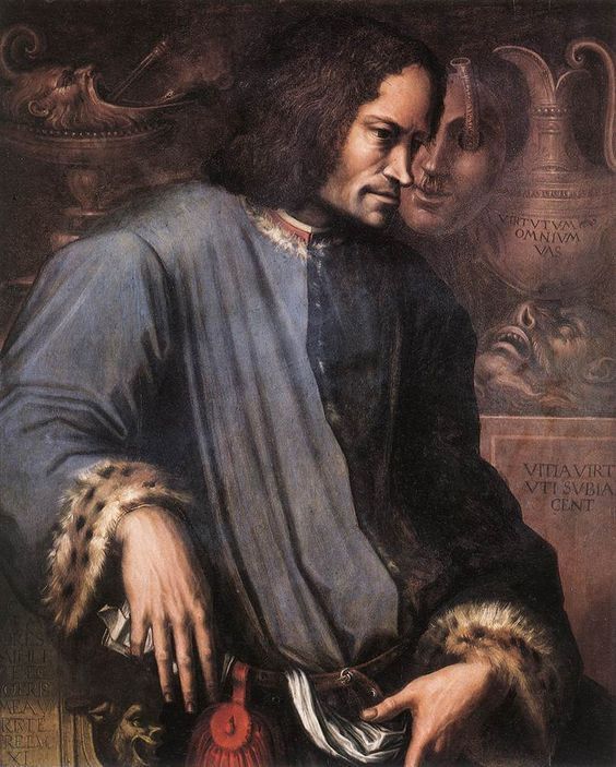 L'ART ET L'ECRITURE : Giorgio VASARI  Lorenzo the Magnificent depicted with grotesque masks that seem to whispering to him or accusing him. His coat is lined with the fur of a leopard or some other dangerous cat. He holds a secret message in his right hand.