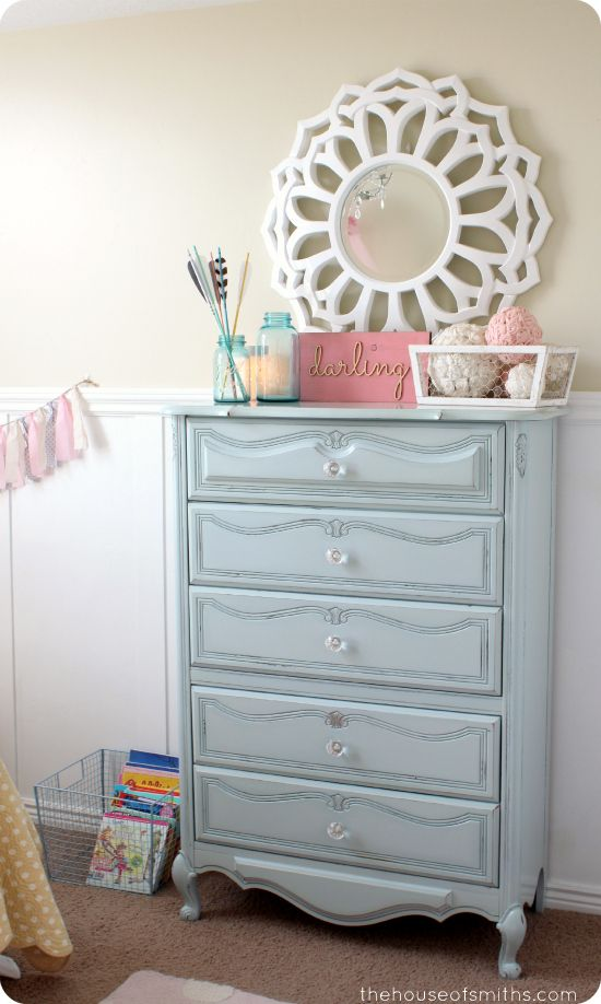 Girly Room Makeover Revamped Light Blue Shabby Chic Dresser With Crystal Knobs I Can Do This