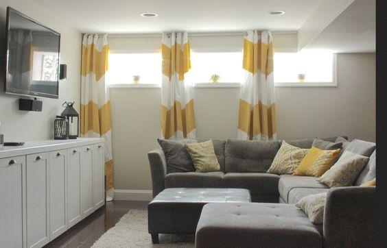 Basement curtains.