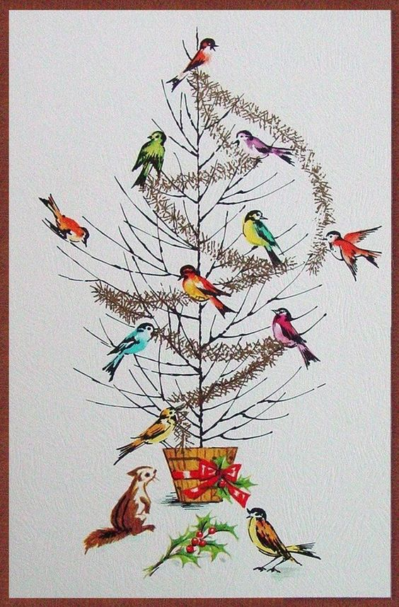 Old Christmas Post Сards — Vintage 'Birds Decorating the Bare Tree' (591x900)