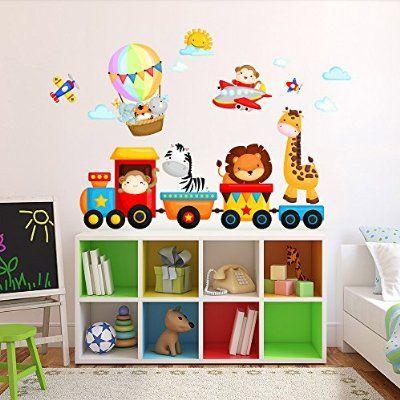 R00350 Adesivo murale per bambini Wall Art - Trenino della giungla - Misure 120x30 cm - Decorazione parete, adesivi per muro, carta da parati