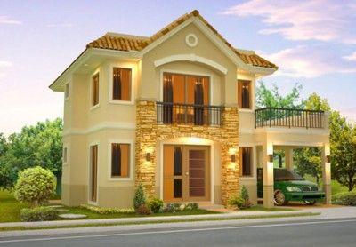 fachada de casas de dos pisos pequeñas hermosa