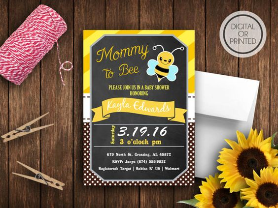 Bumble Bee Baby Shower Invitations Bee Baby by GreatOwlCreations