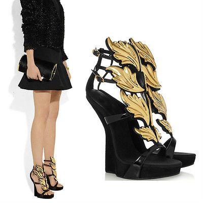 Womens Roman Best Gold Leaves Angel Wing Sandals Unique Wedges ...