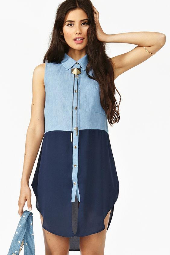 Colorblock Chambray Shirt