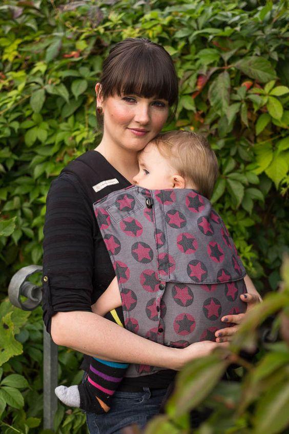 Fräulein Hübsch | Babytrage | Halfbuckle | Toddlersize | Sterne Grau-Pink