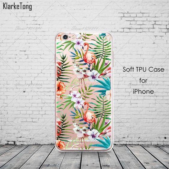 New Fashion Soft Colorful Flamingo Case Cover For iPhone 6 6S 5 5s SE 7 7Plus Transparent Silicone Phone Cases Fundas Capa