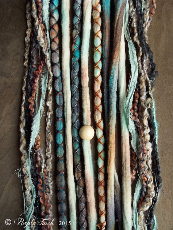 10 Mixed Native & Sand Tie-Dye Wool Synthetic Dreadlock *Clip-in Extensions Boho…