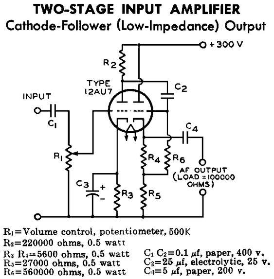 12au7 / ecc82 cathode follower tube preamplifier schematic ... tube pin diagrams