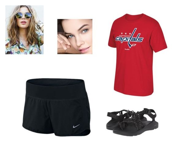 """Small town I don't cares 2"" by emjay14 on Polyvore featuring Reebok, NIKE and Chaco"