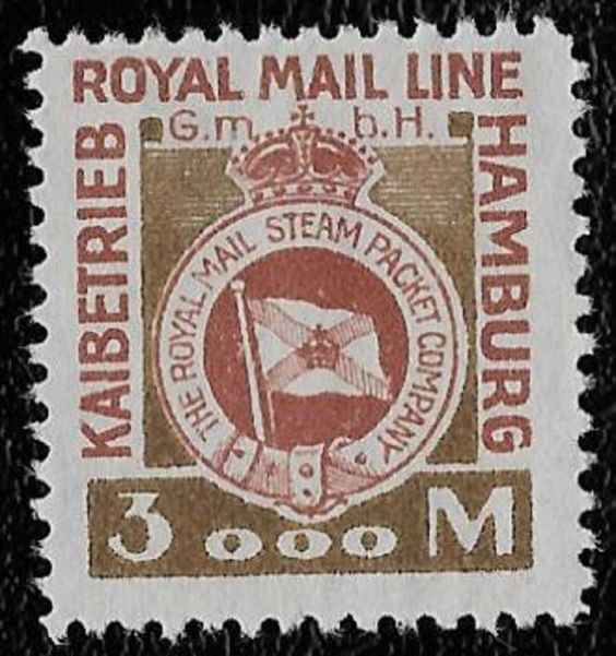 + 1921 The Royal Mail Lines Steam Ship Packet Co.Hamburg Germany 3000 Mark