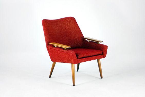 Mid-Century Armchair, Wood & Textile