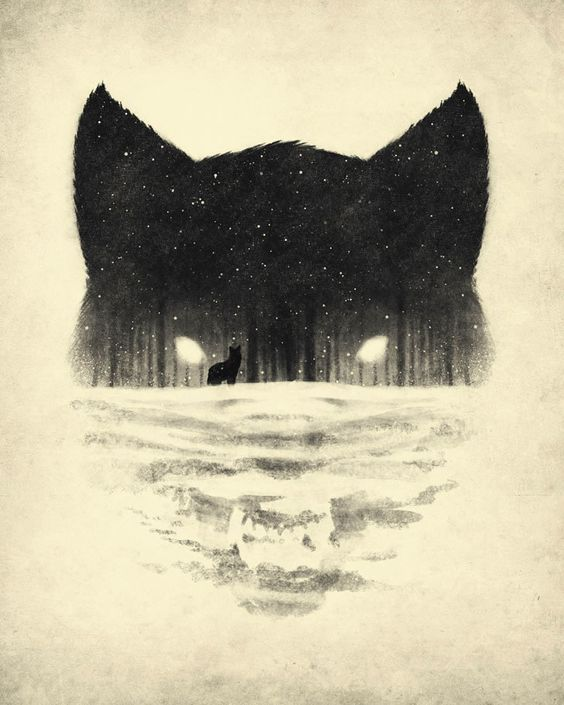 the negative space of the bottom of the page creates the wolf's face, but at the same time creates a snowy landscape for another fox Pinned from Makayla James
