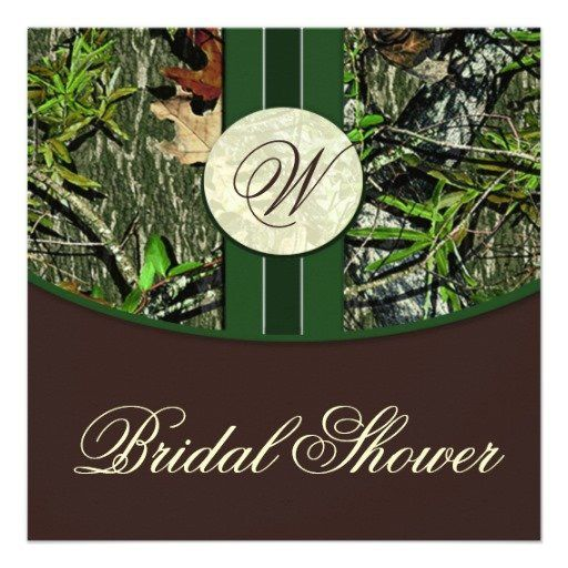 brown green camo wedding bridal shower invitations - Camouflage Wedding Invitations