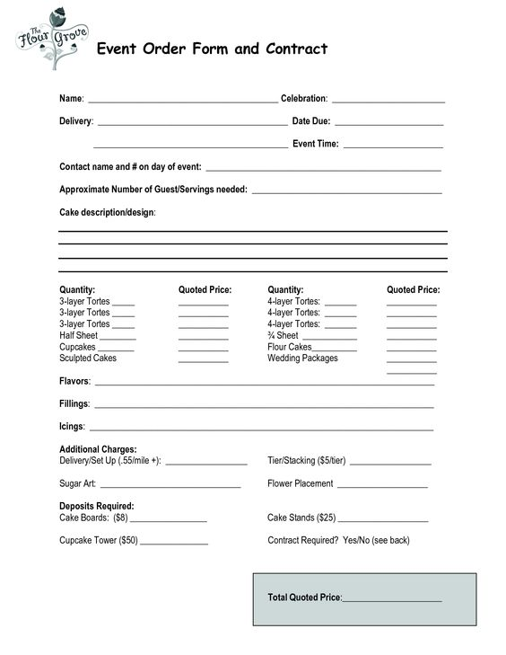cake order contract Event Order Form and Contract Michelle - cupcake order form