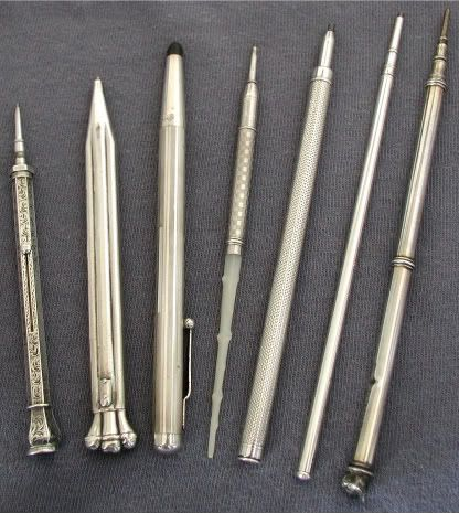Vintage silver mechanical pencils: