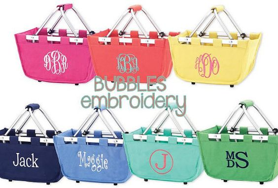 Monogrammed Mini Market Tote ships next day Aqua by bubblesemb