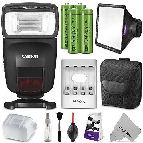 Canon Speedlite 470EX-AI Flash w//Rechargeable Battery Pack /& Flash Diffuser Bundle