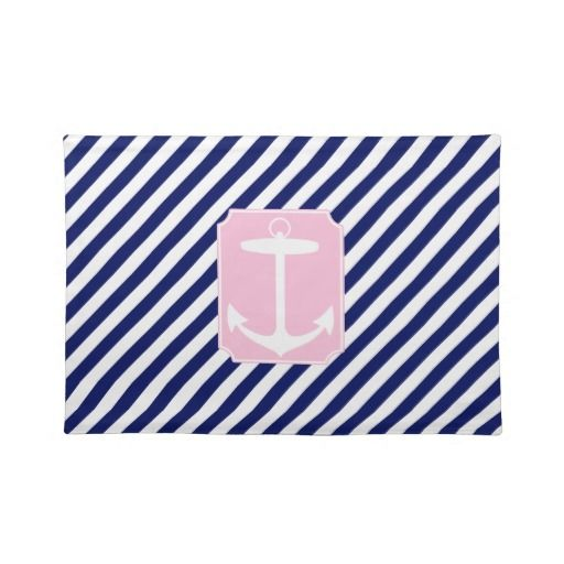 Blue and Pink Anchor Place Mats