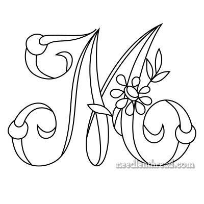 Free Monogram for Hand Embroidery: 'M' via Mary Corbet