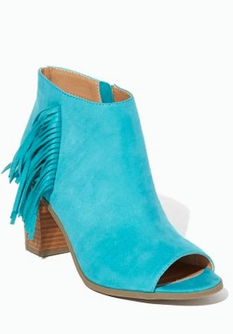 peep toe fringe booties in teal