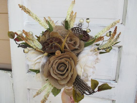 burlap wedding bouquet with feathers for by FlowersbyMaisieMae
