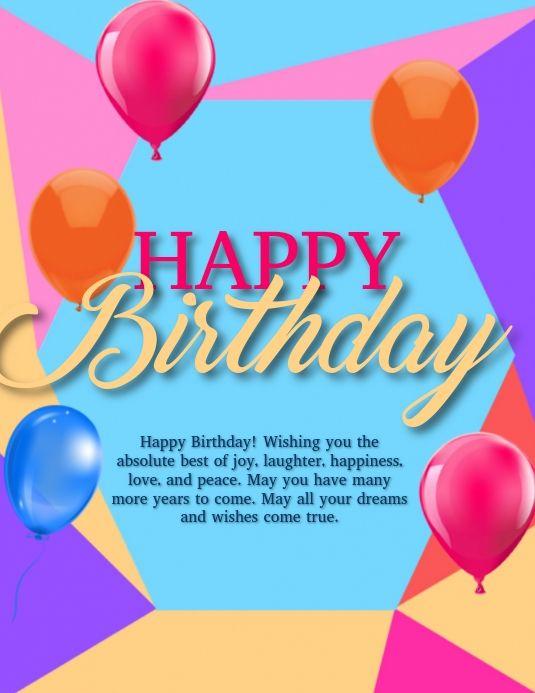 Happy Birthday Wishes Flyer Template Birthday Wishes Happy Birthday Wishes Best Wishes Card