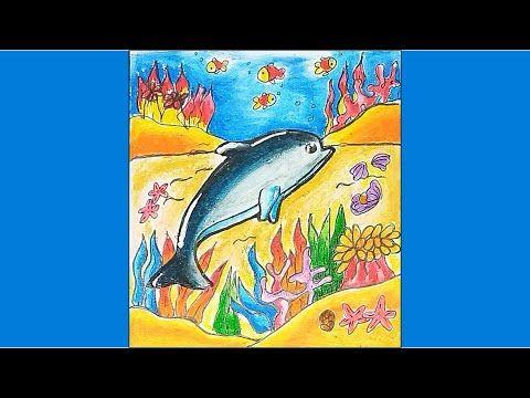 Cara Menggambar Dan Mewarnai Hewan Ikan Lumba Lumba Dengan Gradasi