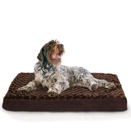Furhaven Sm Faux Sheepskin / Suede Dlx Orthopedic Pet Bed Mat Cream/Clay, Brown
