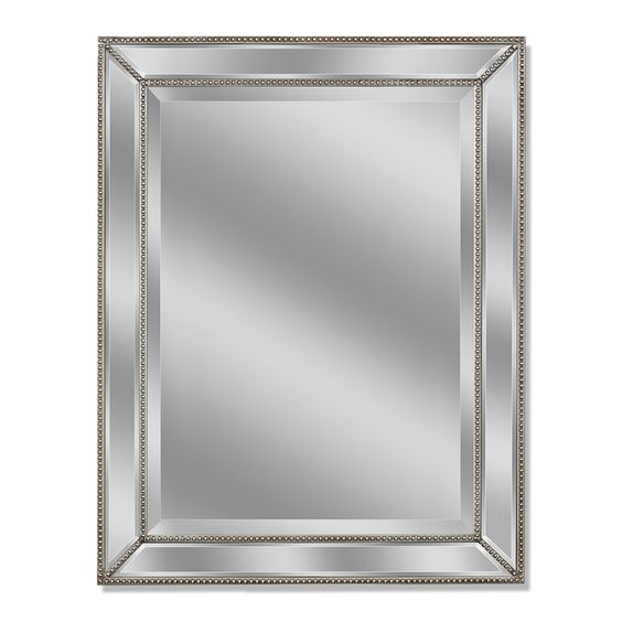 allen roth 30 in x 40 in silver beveled rectangle framed french wall mirror 8703. Black Bedroom Furniture Sets. Home Design Ideas