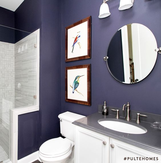 Trend alert update a white guest bath with a deep shade for Deep purple bathroom ideas