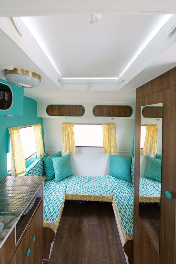 05restored vintage caravan aquamarine yellow wood for Small caravan interior designs