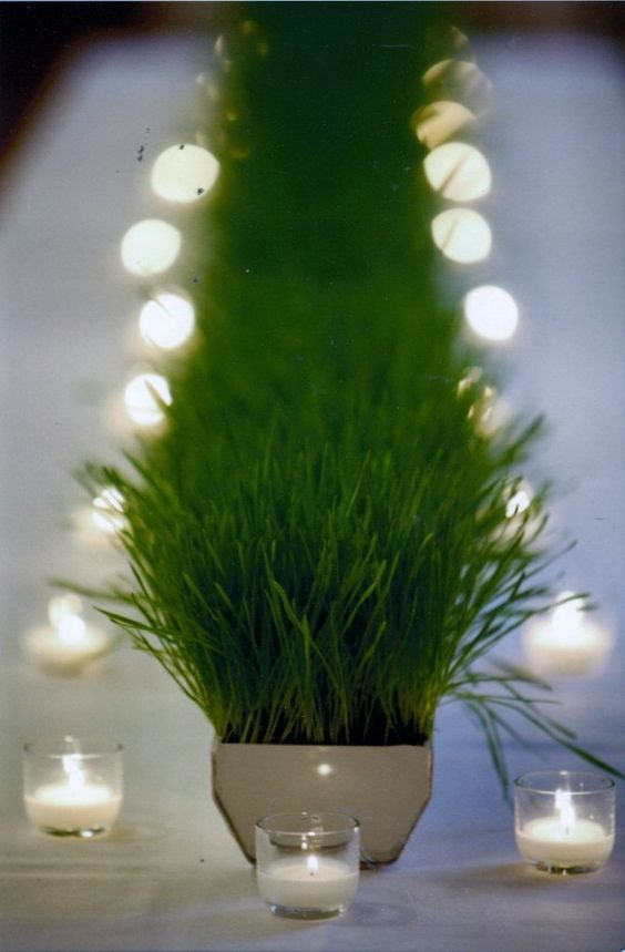 Centerpiece of wheat grass accented by candles weddings
