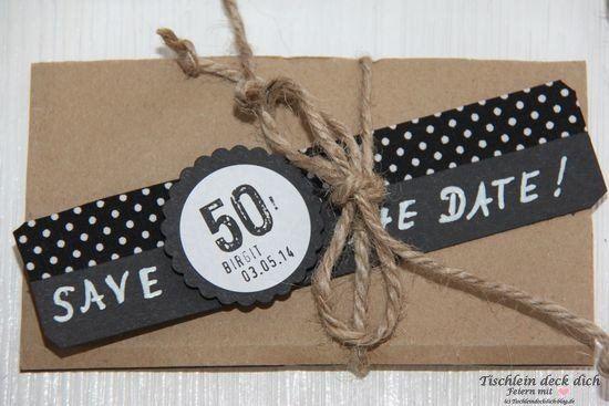 Save The Date Zum 50 Geburtstag Tischlein Deck Dich Einladung Geburtstag Basteln Einladungen Geburtstag Selber Machen Einladung Geburtstag