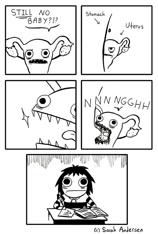 A funny representation of menstrual cramps.