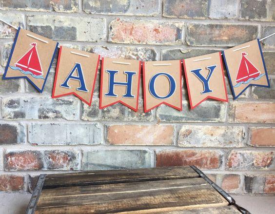 NUEVO Ahoy bandera ~ náuticos Baby Shower ~ es un Banner chico ~ Vintage náutico ~ Ahoy firmar ~ señal náutica ~ bandera velero ~ fiesta náutica ~ anclaje