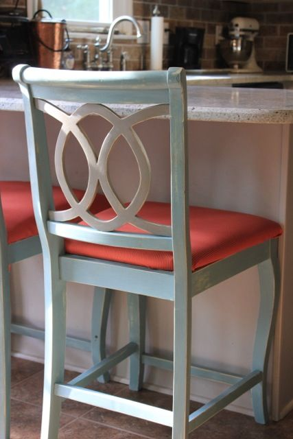 Chalk Painted Barstools And Recovering Cushions Ducks Bar Tops And Chalk P