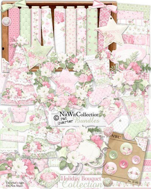 #digitalscrapbooking shabby chic Christmas kit #cardmaking shabby chic Christmas kit. The soft colours and warm elements of this kit help to celebrate the festive Season in style! FQB - Holiday Bouquet Collection