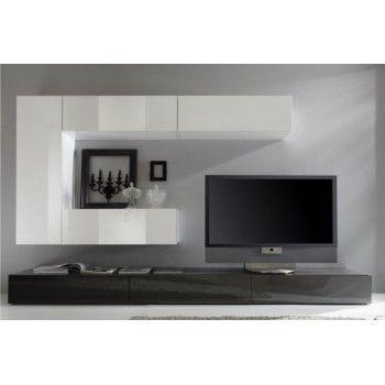Meuble Tv Mural Laque Prune Et Blanc Genoa Meubels Tv Meubels Huis