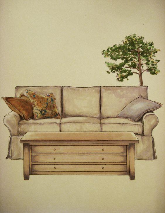 Sofa felt tip marker hae lee ko hand rendering for Hae yong interior designs