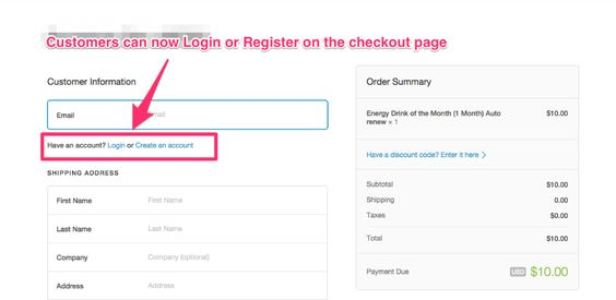 Customer Account creation during checkout (Shopify) - How to do - packing slips for shipping