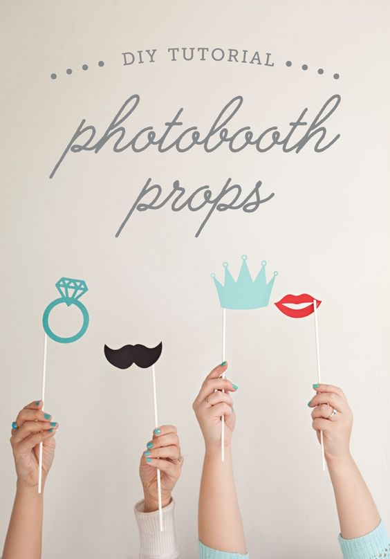 How to make your own photo booth props with FREE print and cut files! Engagement Party Ideas