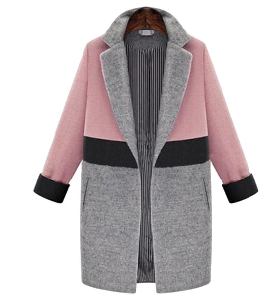 Color Block  Woolen Lapel Coat: