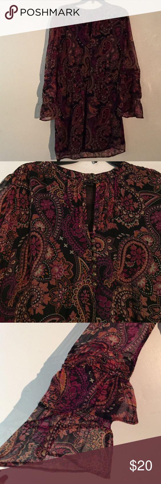 Boho print mini dress Boho print style dress, long sleeve, see through with slip, peek a boo slip on top. Worn once, size M Charlotte Russe Dresses Mini