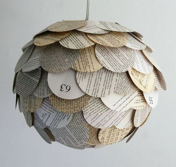 اعمال فنية بالورق: Book Pages, Light Fixture, Lampshade, Recycled Book