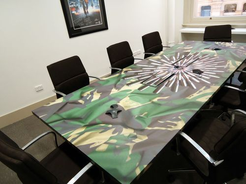 Boardroom Table Wrap To Match Theme Of Room We Wred This In A Durable Vinyl Perfect For Medium Term Decorating Miscellaneous Wraps Pinterest