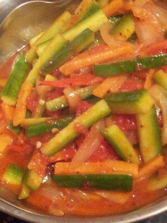 tmt passata/puree or chillies paste, salt, sugar. Slices of 1 cucumber ...