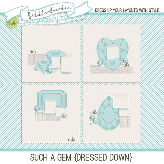 Such A Gem {Dressed Down} was inspired by my beautiful niece, Gemma. She's absolutely a gem, full of fire and life and love and laughter. My hope is that these templates will help you document your own gems in your life!   This personal use/S4H template set includes four (4) layered 1...