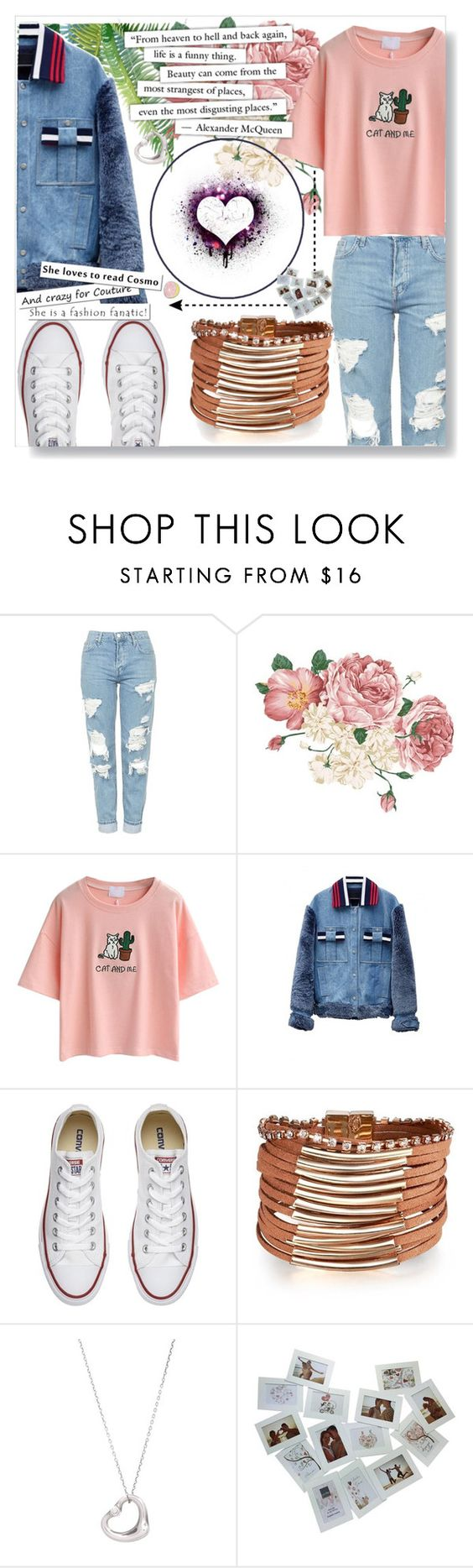 """""""She's a Fashion Fanatic"""" by twinkle-daisy ❤ liked on Polyvore featuring Topshop, WithChic, Jamie Wei Huang, Converse, Tiffany & Co. and Big Bud Press"""