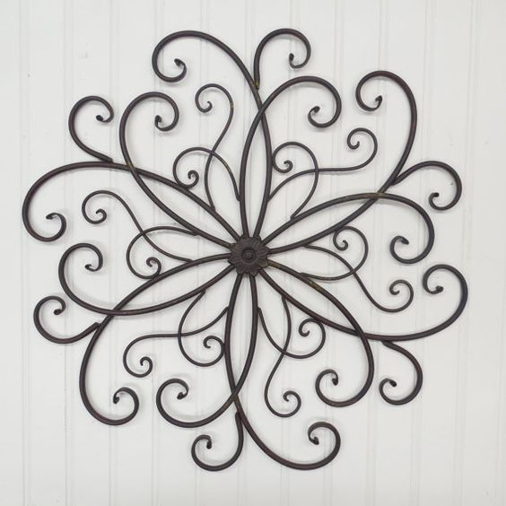 wrought iron flower scroll bedroom wall garden decor outdoor decor